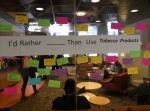 Students wrote on sticky notes what they would rather do than use tobacco products.
